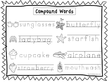 2 Compound Words Trace the Word Worksheets. Handwriting