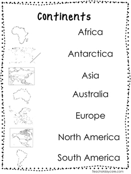 2 Continents Quick Reference Posters. Geography