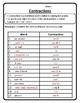 Contractions Worksheet Contractions Practice Contractions Chart Activity #2