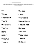 2 Contractions Worksheets