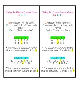 New font! 2 Copies (per pg) of Greatest Common Factor AND Least Common Multiple