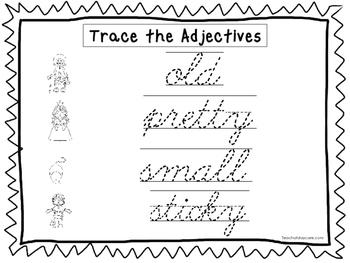 2 cursive trace the adjectives worksheets kdg 2nd grade handwriting. Black Bedroom Furniture Sets. Home Design Ideas