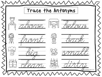 2 Cursive Trace the Antonyms Worksheets. KDG-2nd Grade Han
