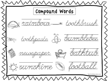 2 Cursive Trace the Compound Words Worksheets. Preschool-2nd Grade Handwriting.