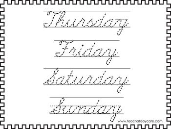 2 Cursive Trace the Days of the Week Worksheets. KDG-2nd Grade Handwriting.