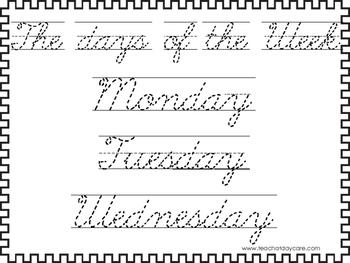 2 cursive trace the days of the week worksheets kdg 2nd grade handwriting. Black Bedroom Furniture Sets. Home Design Ideas