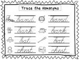 2 Cursive Trace the Homonyms Worksheets. KDG-2nd Grade Handwriting.