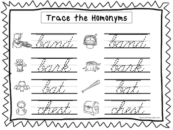 2 Cursive Trace the Homonyms Worksheets. KDG-2nd Grade Handwriting.