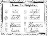 2 Cursive Trace the Homophones Worksheets. KDG-2nd Grade Handwriting.