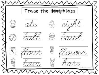 2 Cursive Trace the Homophones Worksheets. KDG-2nd Grade Handwriting.