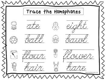 2 cursive trace the homophones worksheets kdg 2nd grade handwriting. Black Bedroom Furniture Sets. Home Design Ideas