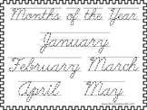 2 Cursive Trace the Months of the Year Worksheets. KDG-2nd Grade Handwriting.
