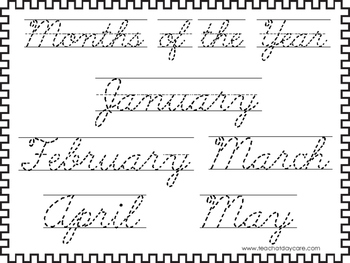 2 cursive trace the months of the year worksheets kdg 2nd grade handwriting. Black Bedroom Furniture Sets. Home Design Ideas