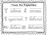 2 Cursive Trace the Prepositions Worksheets. KDG-2nd Grade Handwriting.