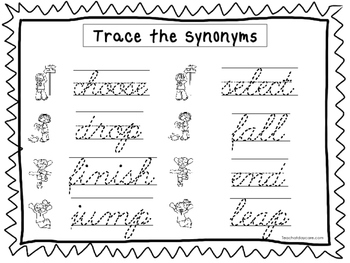 2 Cursive Trace the Synonyms Worksheets. KDG-2nd Grade Handwriting.