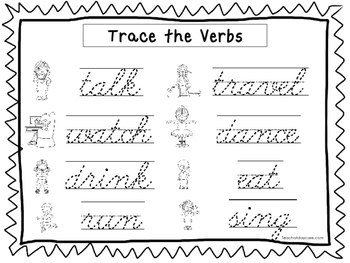 2 Cursive Trace the Verbs Worksheets. KDG-2nd Grade Handwriting.