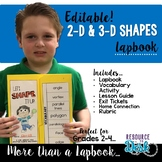 2-D & 3-D Shape Lapbook {EDITABLE}  Geometry Activities & MORE