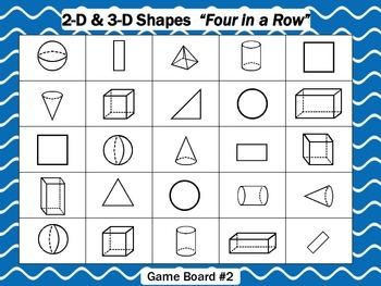 "2-D & 3-D Shapes  ""Four In A Row"" Game"