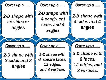 """2-D & 3-D Shapes  """"Four In A Row"""" Game"""