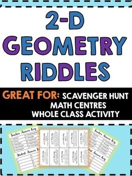 2-D Geometry Riddles -Scavenger hunt,Math Centres,Class Activity-What Shape am i