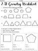 2-D Geometry Worksheet - 2 pages - Angles, Symmetry, Congruent, Math Language