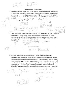 2-D Kinematics Practice #1 Answer Key
