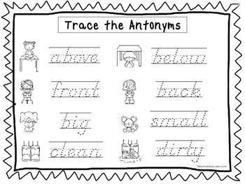 2 D'Nealian Trace the Antonyms Worksheets. Preschool-2nd Grade ...
