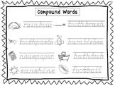 2 D'Nealian Trace the Compound Words Worksheets. Preschool-2nd Grade Handwriting