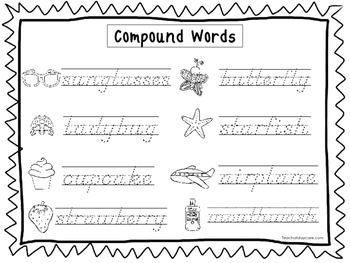 2 D'Nealian Trace the Compound Words Worksheets. Preschool-2nd Grade  Handwriting