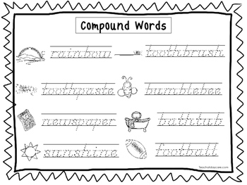 2 Slanted Text Trace the Compound Words Worksheets. PreK-2nd Grade  Handwriting