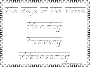 2 D'Nealian Trace the Days of the Week Worksheets. Preschool-2nd Grade Handwriti