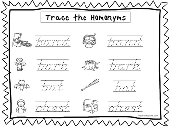 2 D'Nealian Trace the Homonyms Worksheets. Preschool-2nd Grade Handwriting.