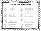 2 D'Nealian Trace the Homophones Worksheets. Preschool-2nd Grade Handwriting.