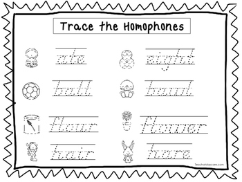 2 Slanted Text Trace the Homophones Worksheets. Preschool ...