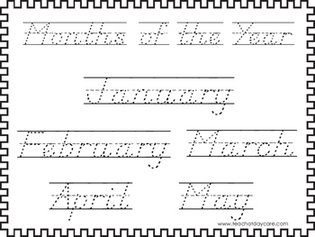 2 D'Nealian Trace the Months of the Year Worksheets. Preschool-2nd Grade Handwri