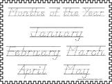 2 D'Nealian Trace the Months of the Year Worksheets. Preschool-2nd Grade Handwri