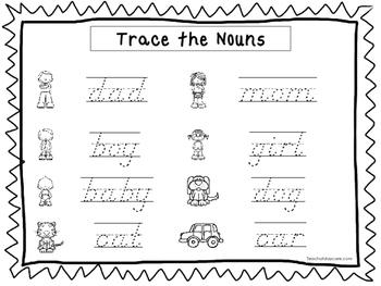 2 D'Nealian Trace the Nouns Worksheets. Preschool-2nd Grade Handwriting.