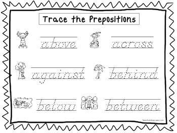 2 D'Nealian Trace the Prepositions Worksheets. Preschool-2nd Grade ...