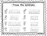 2 D'Nealian Trace the Synonyms Worksheets. Preschool-2nd Grade Handwriting.