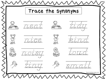 2 D'Nealian Trace the Synonyms Worksheets. Preschool-2nd Grade Handwriting.