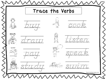 2 D'Nealian Trace the Verbs Worksheets. Preschool-2nd Grad