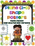 2-D (Plane) Shape Posters with Faces!  Full/Half Sizes-Large Colorful Polka Dots