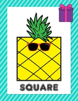 2-D Shape Posters (Includes 13 shapes) - Pineapples