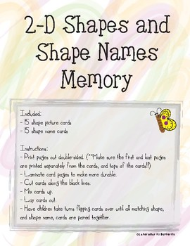 2-D Shape and Name Memory