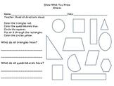 2-D Shapes Assessment for 1st Grade