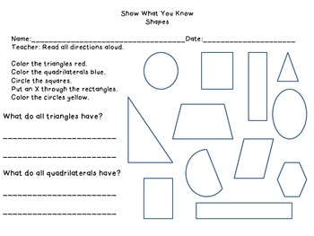 2-D Shapes Assessment for 1st Grade