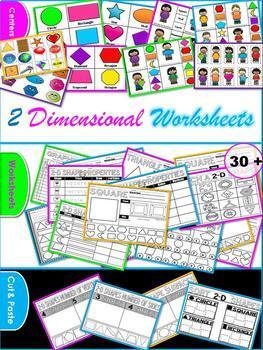 2D Shapes (2D Sorts, Center Work, Worksheets)