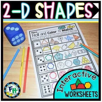 2-D Shapes Interactive Worksheets {Kindergarten & First Grade}
