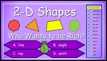 2-D Shapes (Comparing Shape Attributes) Power Point Millionaire Game 3rd Grade