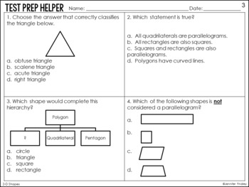 2-D Shapes Problems 5.G.3 and 5.G.4 {Common Core Test Prep Helper}